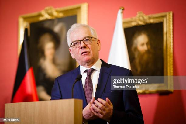 Foreign Minister of Poland Jacek Czaputowicz speaks to the media on October 16 2018 in Warsaw Poland