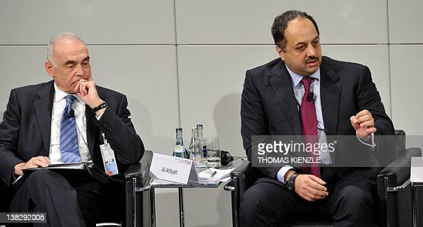 Foreign Minister of Qatar Khalid Mohamed AlAttiyah and his counterpart of Egypt Mohamed Amr attend a panel discussion of the 48th Munich Security...