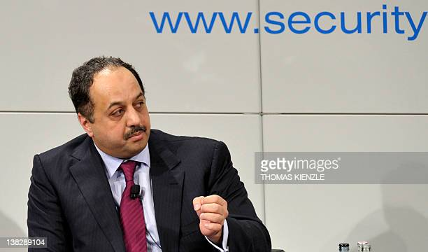 Foreign Minister of Qatar Khalid Mohamed AlAttiyah attends a panel discussion at the 48th Munich Security Conference at the Bayerischer Hof hotel in...