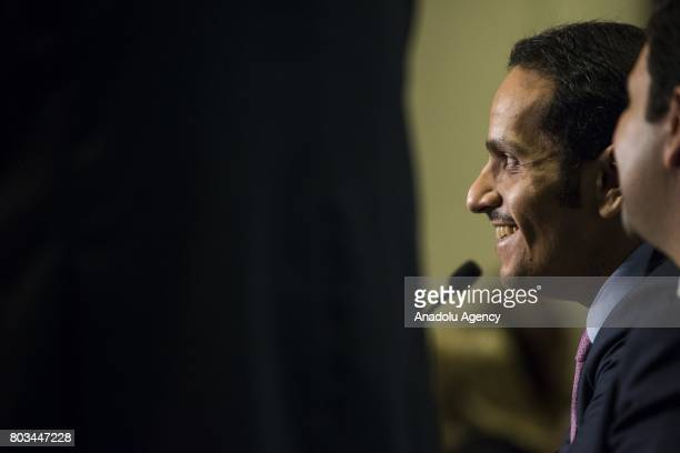 Foreign Minister of Qatar Mohammed bin Abdulrahman bin Jassim AlThani speaks at an event hosted by the Arab Center in Washington USA on June 29 2017