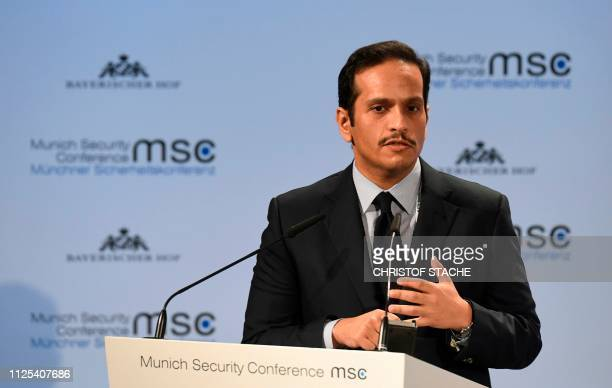 Foreign Minister of Qatar Sheikh Mohammed bin Abdulrahman AlThani speaks during the 55th Munich Security Conference in Munich southern Germany on...