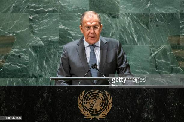 Foreign Minister of Russia Sergey Lavrov addresses the 76th Session of the U.N. General Assembly at U.N. Headquarters on September 25, 2021 in New...