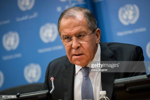 Foreign Minister of Russia Sergey Lavrov speaks during a press conference at United Nations headquarters January 19 2018 in New York City Lavrov...