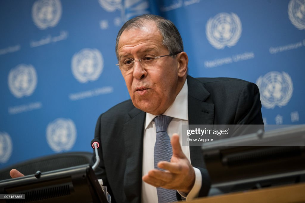 Russian Foreign Minister Sergey Lavrov Holds Press Briefing At U.N. : News Photo