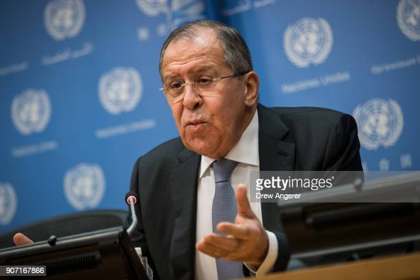 Foreign Minister of Russia Sergey Lavrov speaks during a press conference at United Nations headquarters, January 19, 2018 in New York City. Lavrov...