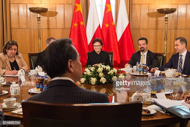Foreign Minister of the People's Republic of China Wang Yi meets with Polish Prime Minister Ewa Kopacz in Chancellery of the Prime Minister of Poland...