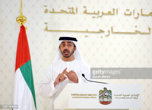 Foreign Minister of the United Arab Emirates Scheik Abdullah bin Zayed speaks at a press conference in Abu Dhabi, United Arab Emirates, 13 November...