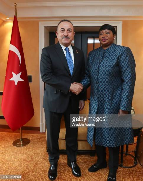 Foreign Minister of Turkey Mevlut Cavusoglu meets the International Criminal Court's chief prosecutor Fatou Bensouda on the sidelines of the Munich...