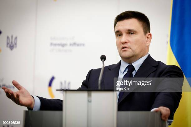 Foreign Minister of Ukraine Pavlo Klimkin gives a press conference on January 03 2018 in Kiev Ukraine Gabriel is on a two day trip in the Ukraine to...