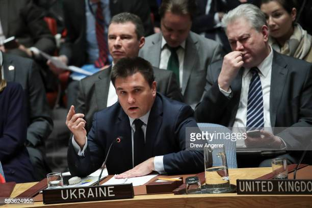 Foreign Minister of Ukraine Pavlo Klimkin speaks during a United Nations Security Council meeting concerning North Korea's nuclear ambitions December...