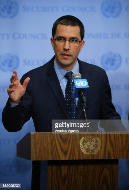 Foreign Minister of Venezuela Jorge Arreaza speaks during a press conference at the United Nations headquarters in New York United States on August...