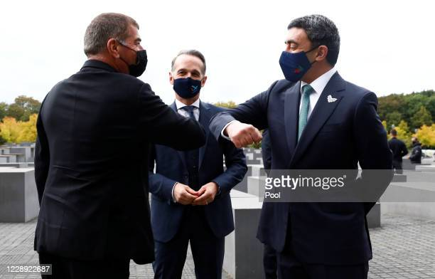 Foreign Minister Sheikh Abdullah bin Zayed alNahyan and his Israeli counterpart Gabi Ashkenazi greet as they visit the Holocaust memorial together...