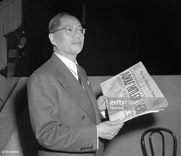 Foreign minister T V Soong of China is shown attending the plenary session of UNC as he happily reads newspaper report of Hitler's death
