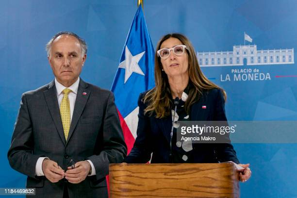 Foreign Minister Teodoro Ribera with Environment Minister Carolina Schmidt speak during a press conference to announce Chile will not host the Apec...