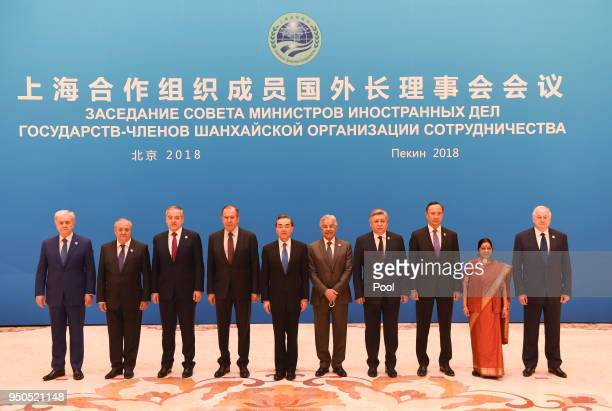 Foreign ministers and officials of the Shanghai Cooperation Organisation pose for a group photo before a meeting at the Diaoyutai State Guest House...