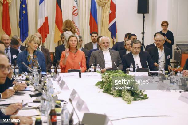 Foreign ministers and senior diplomats from Iran Germany Britain France Russia and China meet in Vienna on July 6 2018 to deal with Iran's nuclear...
