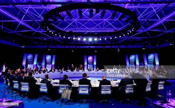 foreign ministers attend a working dinner at the park of the Cinquantenaire during a NATO Summit in Brussels on July 11 2018 NATO leaders gathered in...