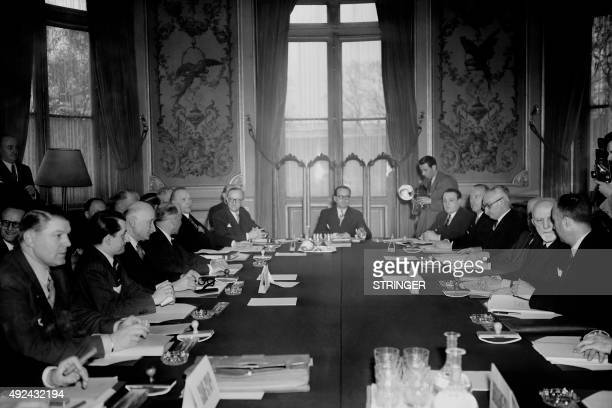 Foreign Ministers attend on April 12 1951 the conference of the Shuman Declaration in Paris Luxembourgian Joseph Bech Dutch Dirk Stikker Belgian Paul...