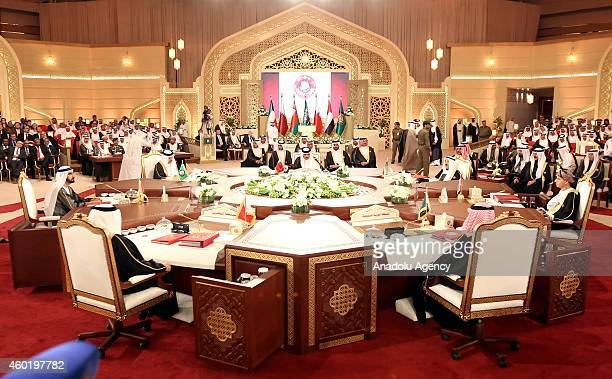 Foreign ministers attend the 35th session of the Supreme Council of the Gulf Cooperation Council leaders in Doha Qatar on November 09 2014