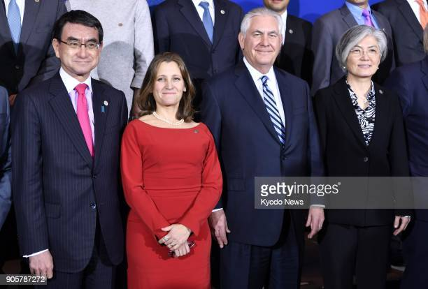 Foreign ministers from 20 countries pose for a photo during a meeting held in Vancouver on Jan. 16 to address North Korea's nuclear and missile...