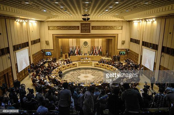 Foreign ministers from Arab countries gather at the Arab League headquarters in Cairo on April 9 2014 Arab foreign ministers met with Palestinian...