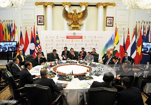 Foreign ministers from the Association of Southeast Asian Nations grouping hold an informal meeting in Jakarta on February 22 2011 ASEAN ministers...