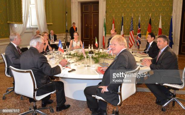 Foreign ministers from the Group of Seven advanced economies meet in Lucca central Italy on April 10 2017 The twoday meeting will focus on pressing...