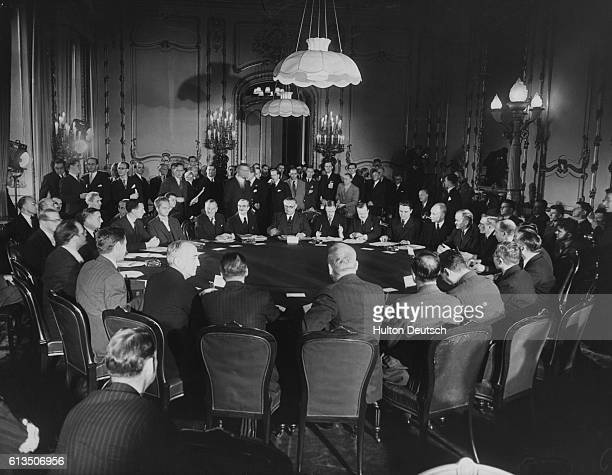 Foreign Ministers of Britain, the United States, Russia, France, and China meet to discuss the Five Power Conference on Reparation for...