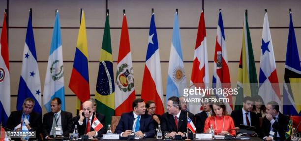 Foreign Ministers of nations of the Lima Group hold a meeting over the Venezuelan crisis in Santiago on April 15 2019 The Lima Group of mostly Latin...