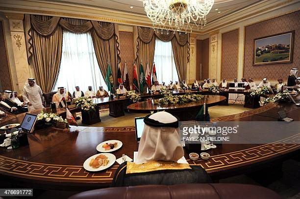 Foreign Ministers of the Gulf Cooperation Council member states attend a meeting on June 11 2015 in the Saudi capital Riyadh AFP PHOTO / FAYEZ...