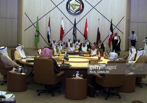Foreign ministers of the six Gulf Cooperation Council states meet in the Saudi capital Riyadh 11 March 2002 The Gulf Arab officials are meeting to...