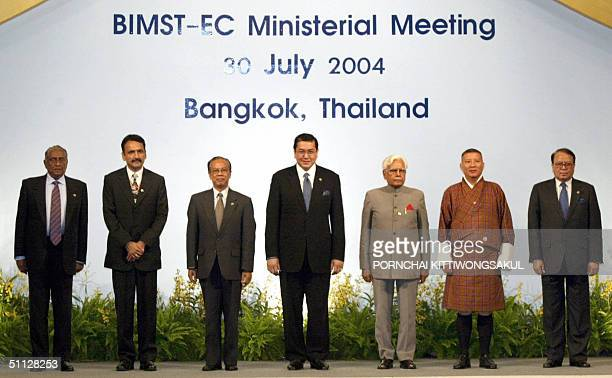 Foreign Ministers pose for a group photo Lakshman Kadirgamar of Sri Lanka Prakash Mahat of Nepal U Win Aung of Myanmar Surakiart Sathirathai of...