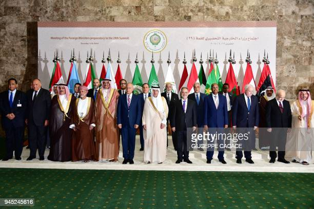 Foreign Ministers pose for a group picture during the preparatory meeting of Arab Foreign Ministers ahead of the 28th Summit of the Arab League in...