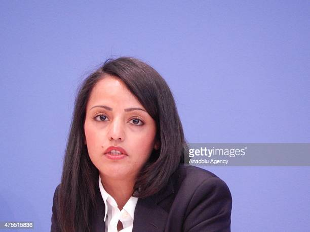 Foreign Office Deputy Spokesperson of Germany Sawsan Chebli holds a press conference at Federal Press Office in Berlin Germany on May 20 2015