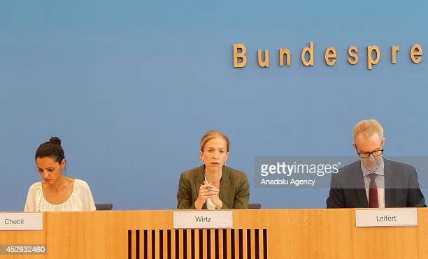 Foreign Office Deputy Spokeswomen Sawsan Chebli and Deputy government spokeswoman Christiane Wirtz hold a press conference about the opinion of their...