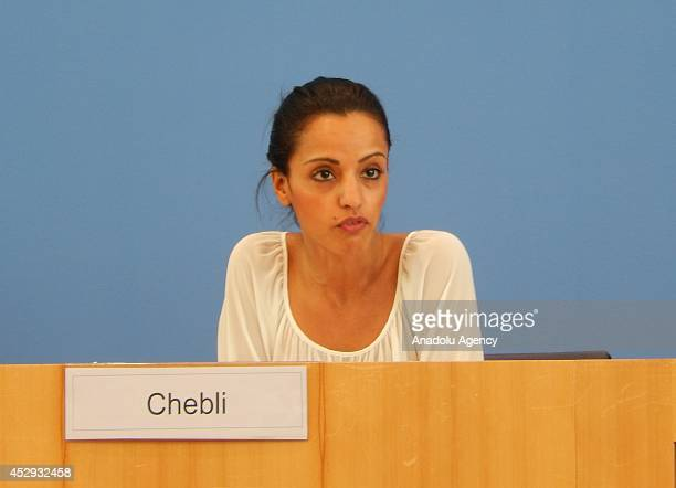 Foreign Office Deputy Spokeswomen Sawsan Chebli holds a press conference about the opinion of their government in Berlin Germany on July 302014