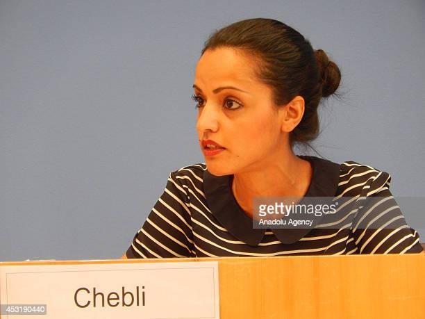 Foreign Office Deputy Spokeswomen Sawsan Chebli holds a press in Berlin Germany on August 4 2014
