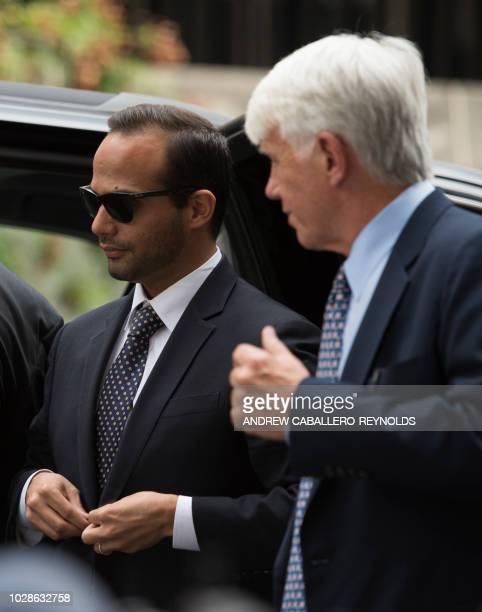 Foreign policy advisor to US President Donald Trump's election campaign George Papadopoulos arrives at US District Court for his sentencing in...