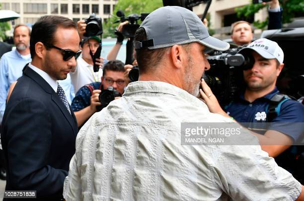 Foreign policy advisor to US President Donald Trump's election campaign George Papadopoulos leaves the US District Courts after his sentencing in...