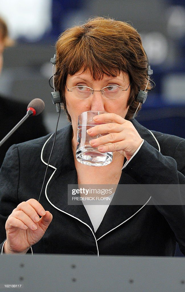 EU foreign policy chief Catherine Ashton takes a drink of water during her speech at the European Parliament on June 16, 2010 in Strasbourg, eastern France.