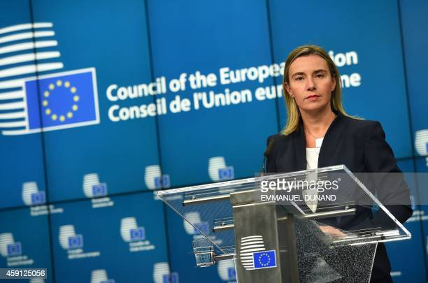 EU foreign policy chief Federica Mogherini addresses a press conference at the end of her first European Foreign Affairs Council in Brussels on...