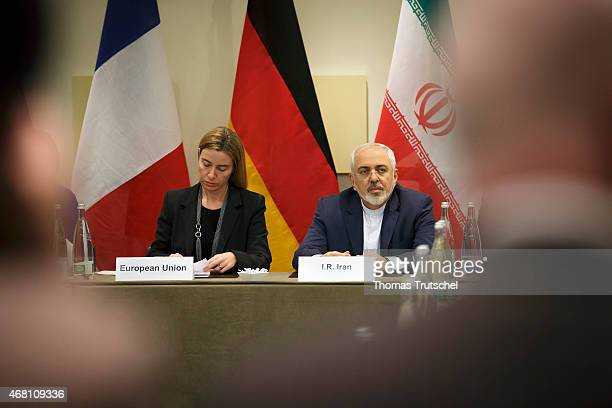 EU foreign policy chief Federica Mogherini and Iranian Foreign Minister Mohammad Javad Zarif attends a meeting with P51 European Union and Iranian...