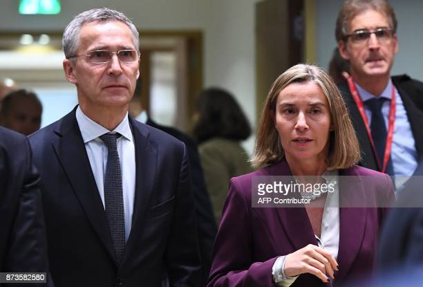 EU Foreign Policy Chief Federica Mogherini and NATO Secretary General attend a foreign/defence affairs council at the European Council in Brussels on...