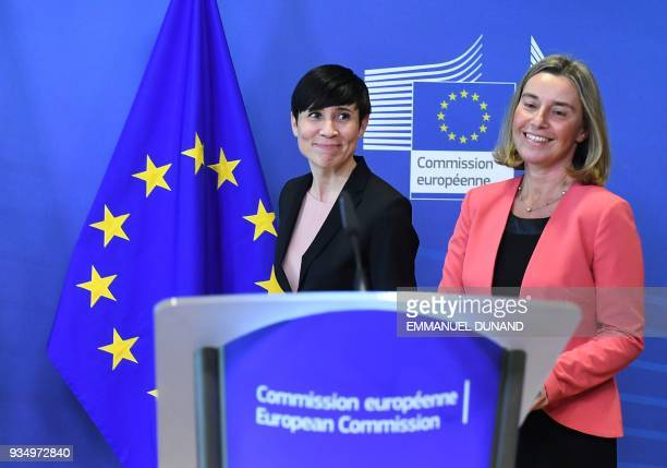 EU foreign policy chief Federica Mogherini and Norway's Foreign Minister Ine Marie Eriksen Soreide address a press conference before chairing a...