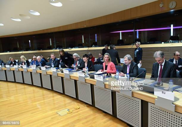EU foreign policy chief Federica Mogherini and Norway's Foreign Minister Ine Marie Eriksen Soreide chair a regular session of the International Donor...