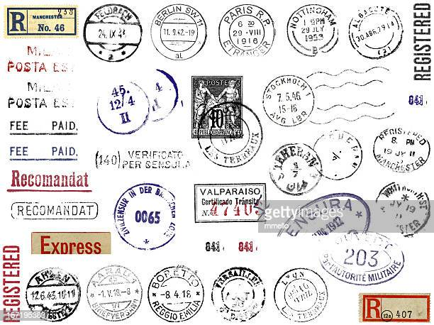 foreign postmarks stamps & stickers europe - mail stock pictures, royalty-free photos & images