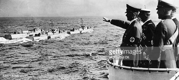 Foreign relations Germany/ Hungary Adolf Hitler and Miklos Horthy de Nagybanya watching the naval review in the Kiel Bay to the right General Walther...