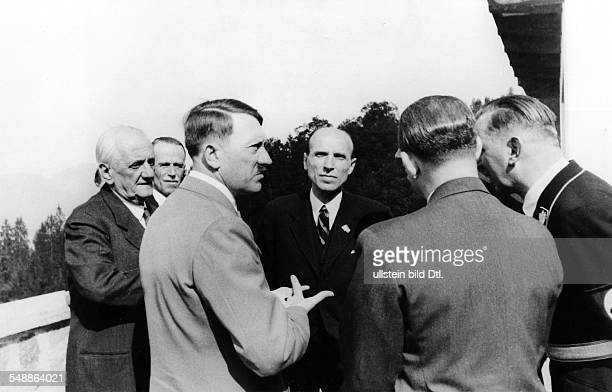 Foreign relations Germany / Hungary Adolf Hitler having a conversation with Prime Minister of Hungary Bela Imredy at the Obersalzberg in Bavaria left...