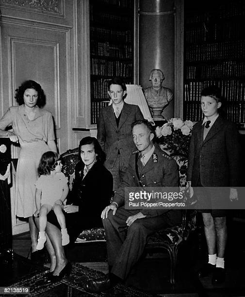1945 The Belgian Royal Family pictured at the Villa Reposoir near Geneva leftright Princess Josephine Charlotte Prince Alexandre Liliane de Rethy...