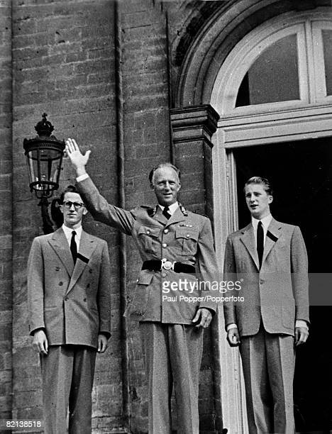 circa 1950 King Leopold centre with his sons Crown Prince Baudouin left and Prince Albert shortly after they had returned home from Switzerland